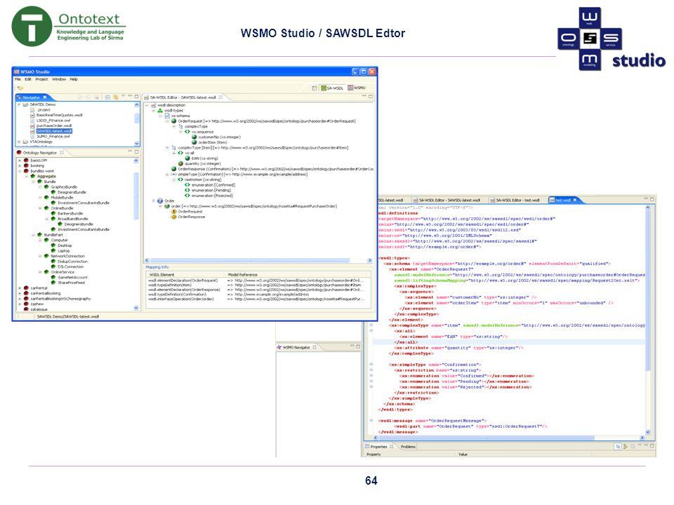 64 WSMO Studio / SAWSDL Edtor