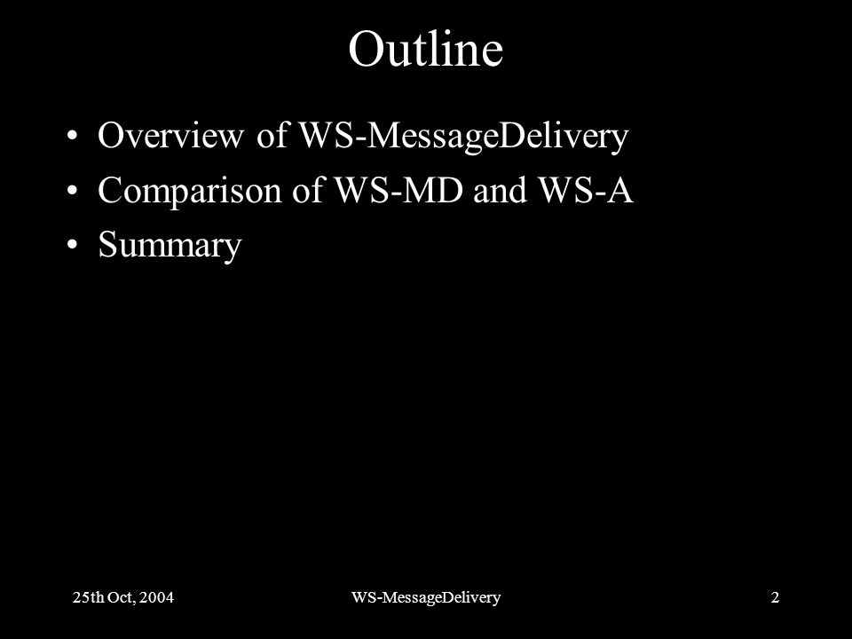 25th Oct, 2004WS-MessageDelivery2 Outline Overview of WS-MessageDelivery Comparison of WS-MD and WS-A Summary