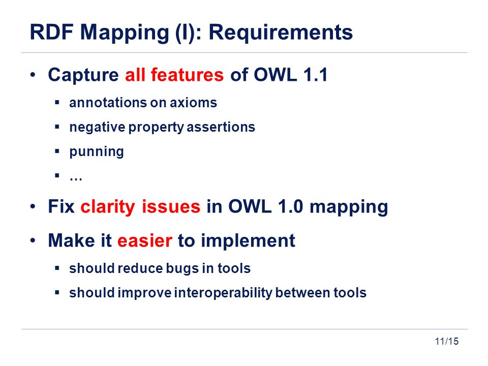 11/15 RDF Mapping (I): Requirements Capture all features of OWL 1.1 annotations on axioms negative property assertions punning … Fix clarity issues in OWL 1.0 mapping Make it easier to implement should reduce bugs in tools should improve interoperability between tools