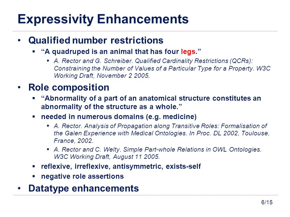 6/15 Expressivity Enhancements Qualified number restrictions A quadruped is an animal that has four legs.