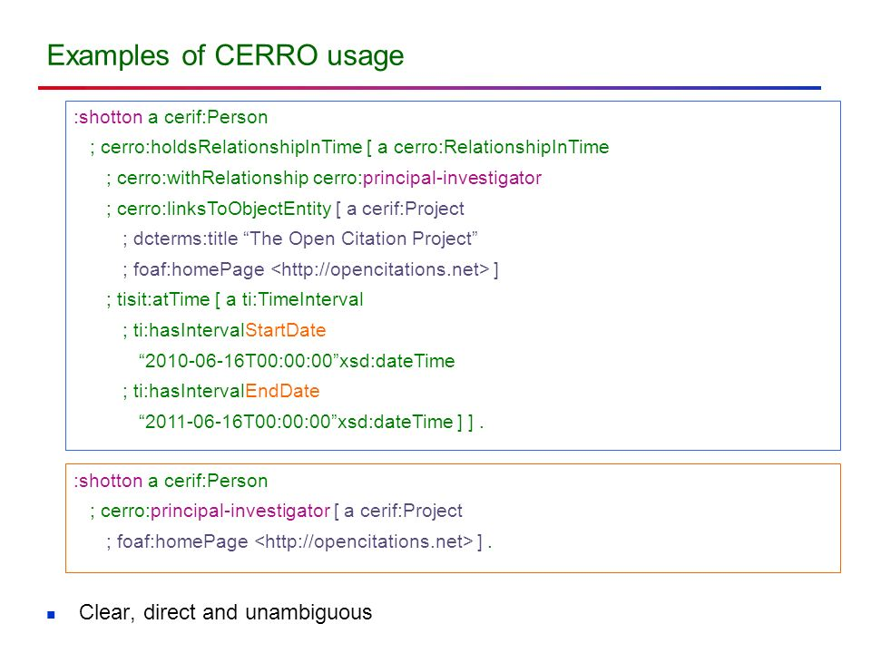 Examples of CERRO usage :shotton a cerif:Person ; cerro:holdsRelationshipInTime [ a cerro:RelationshipInTime ; cerro:withRelationship cerro:principal-investigator ; cerro:linksToObjectEntity [ a cerif:Project ; dcterms:title The Open Citation Project ; foaf:homePage ] ; tisit:atTime [ a ti:TimeInterval ; ti:hasIntervalStartDate 2010-06-16T00:00:00xsd:dateTime ; ti:hasIntervalEndDate 2011-06-16T00:00:00xsd:dateTime ] ].