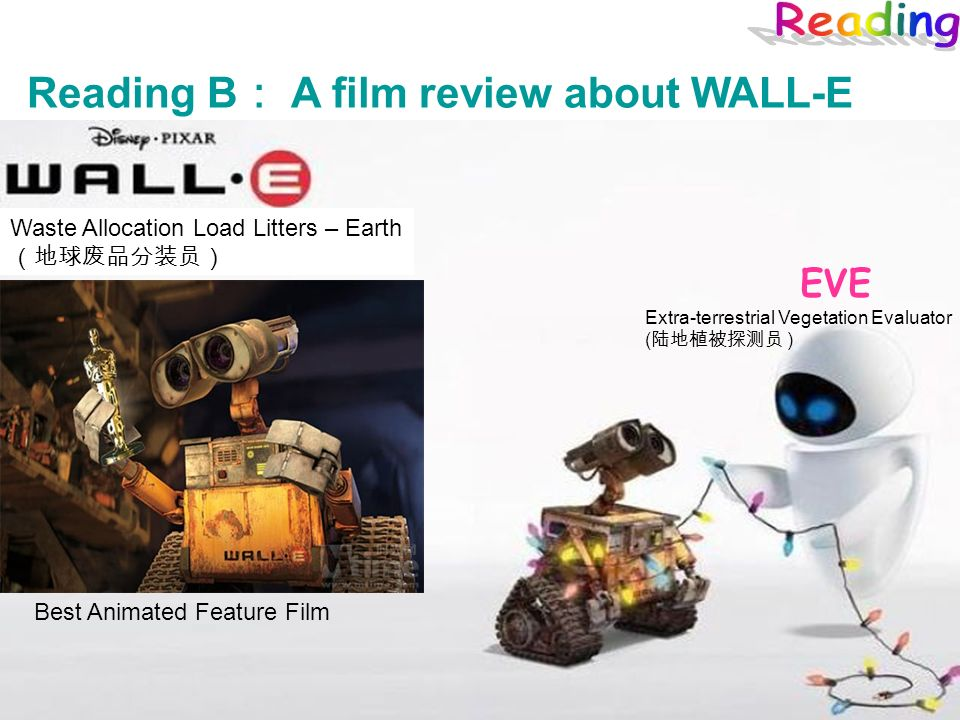Reading B A film review about WALL-E Waste Allocation Load Litters – Earth Best Animated Feature Film EVE Extra-terrestrial Vegetation Evaluator ( )