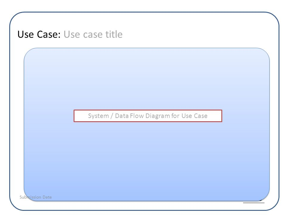 Use Case: Use case title System / Data Flow Diagram for Use Case Submission Date