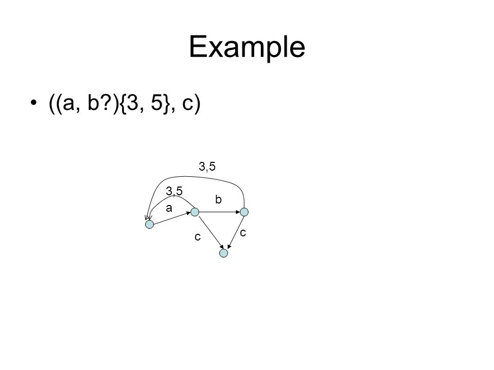 Example ((a, b ){3, 5}, c) a b c c 3,5