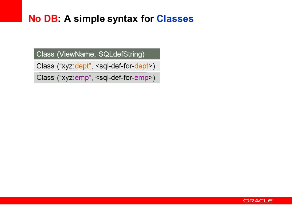 No DB: A simple syntax for Classes Class (ViewName, SQLdefString) Class (xyz:dept, ) Class (xyz:emp, )