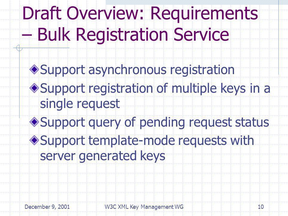 December 9, 2001W3C XML Key Management WG10 Draft Overview: Requirements – Bulk Registration Service Support asynchronous registration Support registr