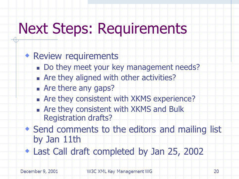 December 9, 2001W3C XML Key Management WG20 Next Steps: Requirements Review requirements Do they meet your key management needs.