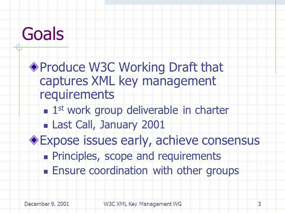 December 9, 2001W3C XML Key Management WG3 Goals Produce W3C Working Draft that captures XML key management requirements 1 st work group deliverable in charter Last Call, January 2001 Expose issues early, achieve consensus Principles, scope and requirements Ensure coordination with other groups