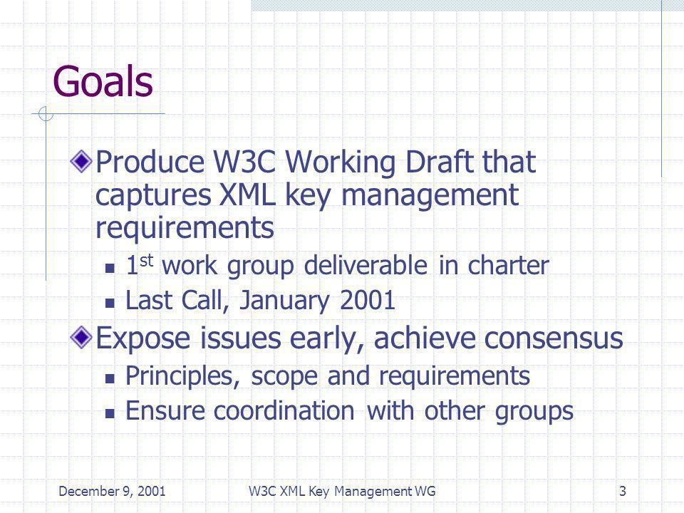 December 9, 2001W3C XML Key Management WG3 Goals Produce W3C Working Draft that captures XML key management requirements 1 st work group deliverable i