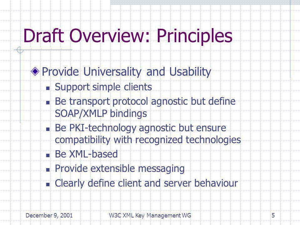 December 9, 2001W3C XML Key Management WG5 Draft Overview: Principles Provide Universality and Usability Support simple clients Be transport protocol agnostic but define SOAP/XMLP bindings Be PKI-technology agnostic but ensure compatibility with recognized technologies Be XML-based Provide extensible messaging Clearly define client and server behaviour