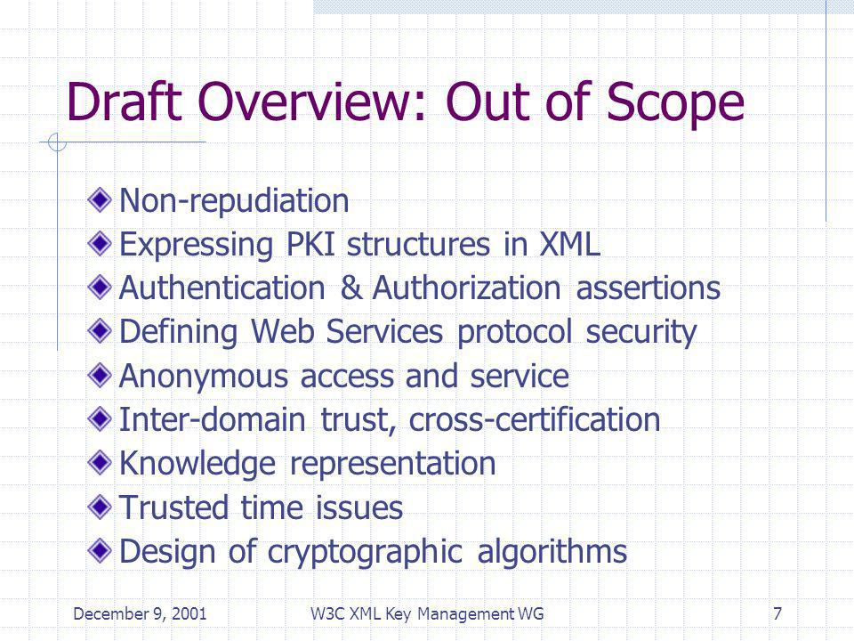 December 9, 2001W3C XML Key Management WG7 Draft Overview: Out of Scope Non-repudiation Expressing PKI structures in XML Authentication & Authorization assertions Defining Web Services protocol security Anonymous access and service Inter-domain trust, cross-certification Knowledge representation Trusted time issues Design of cryptographic algorithms