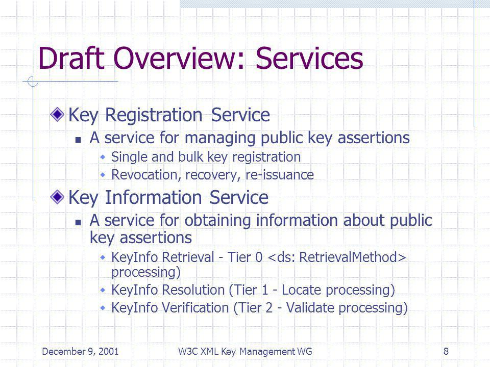 December 9, 2001W3C XML Key Management WG8 Draft Overview: Services Key Registration Service A service for managing public key assertions Single and bulk key registration Revocation, recovery, re-issuance Key Information Service A service for obtaining information about public key assertions KeyInfo Retrieval - Tier 0 processing) KeyInfo Resolution (Tier 1 - Locate processing) KeyInfo Verification (Tier 2 - Validate processing)