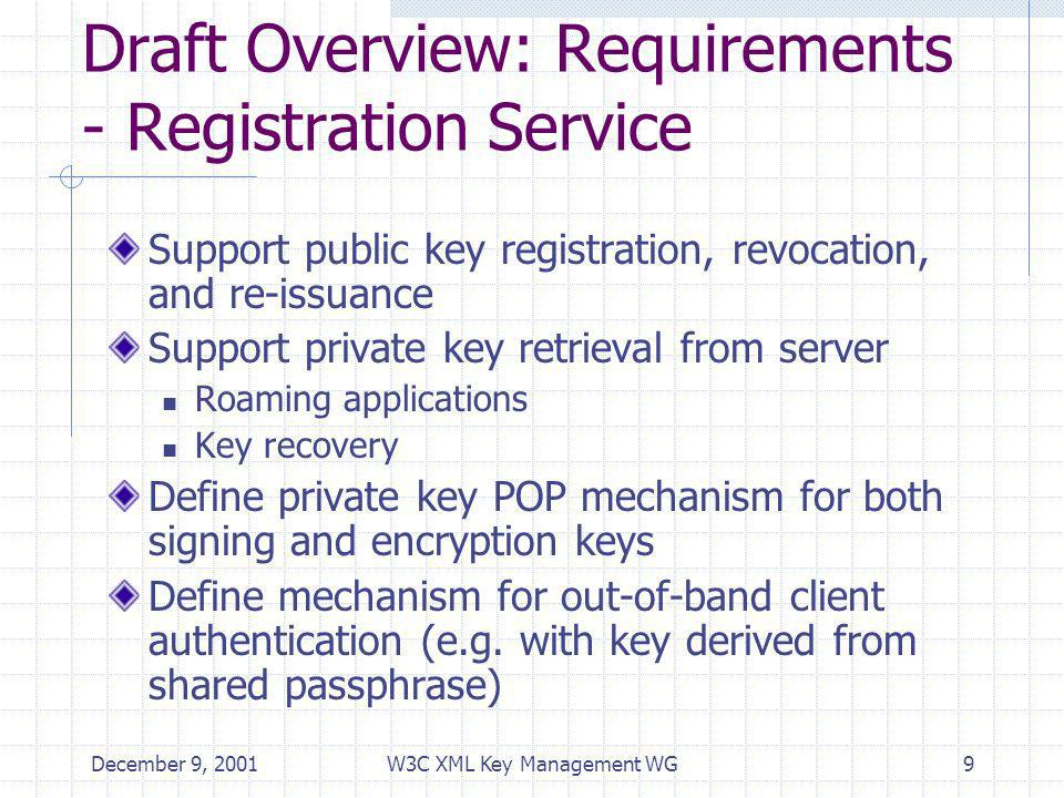 December 9, 2001W3C XML Key Management WG10 Draft Overview: Requirements – Bulk Registration Service Support asynchronous registration Support registration of multiple keys in a single request Support query of pending request status Support template-mode requests with server generated keys