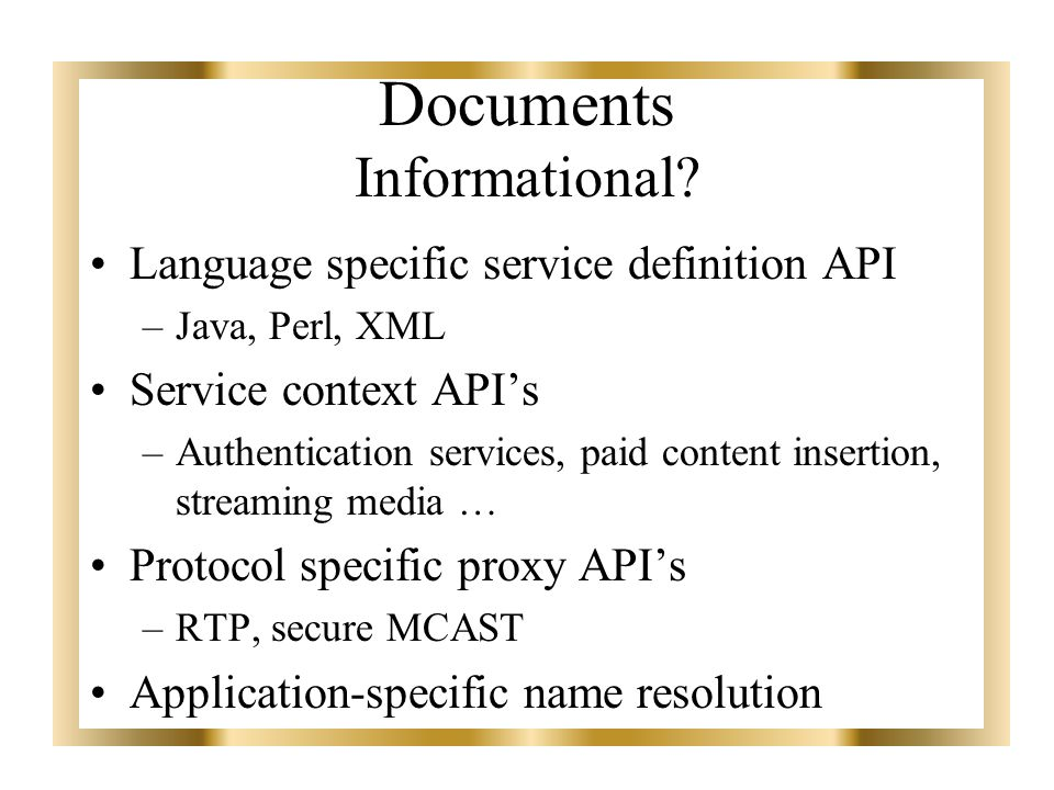 Documents Informational.