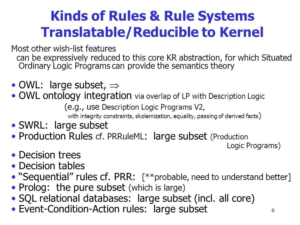 5 Kernel KR Focus Declarative Logic Programs expressiveness including 1.