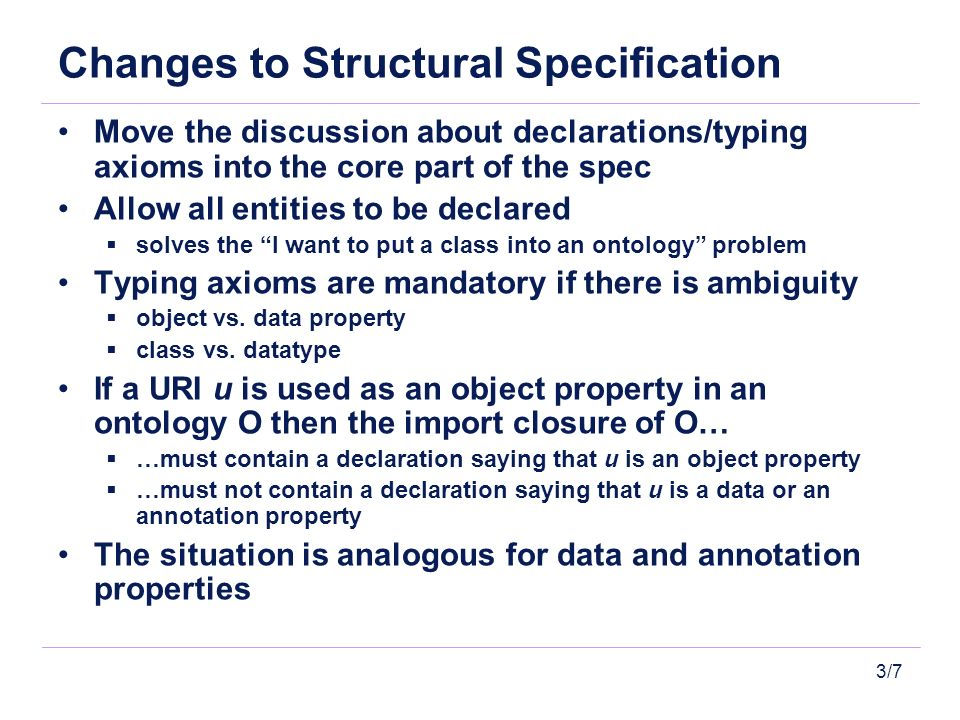 3/7 Changes to Structural Specification Move the discussion about declarations/typing axioms into the core part of the spec Allow all entities to be d