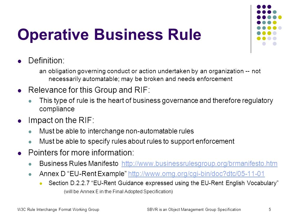 W3C Rule Interchange Format Working GroupSBVR is an Object Management Group Specification5 Operative Business Rule Definition: an obligation governing