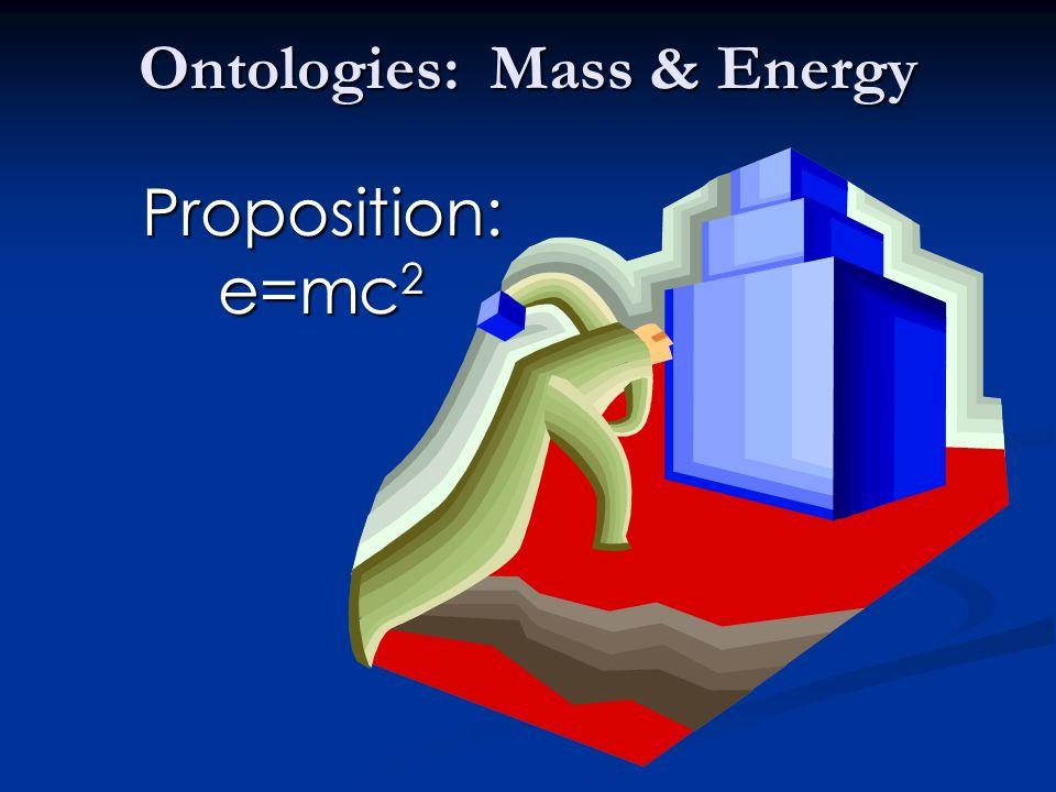 Ontologies: Mass & Energy Proposition: e=mc 2