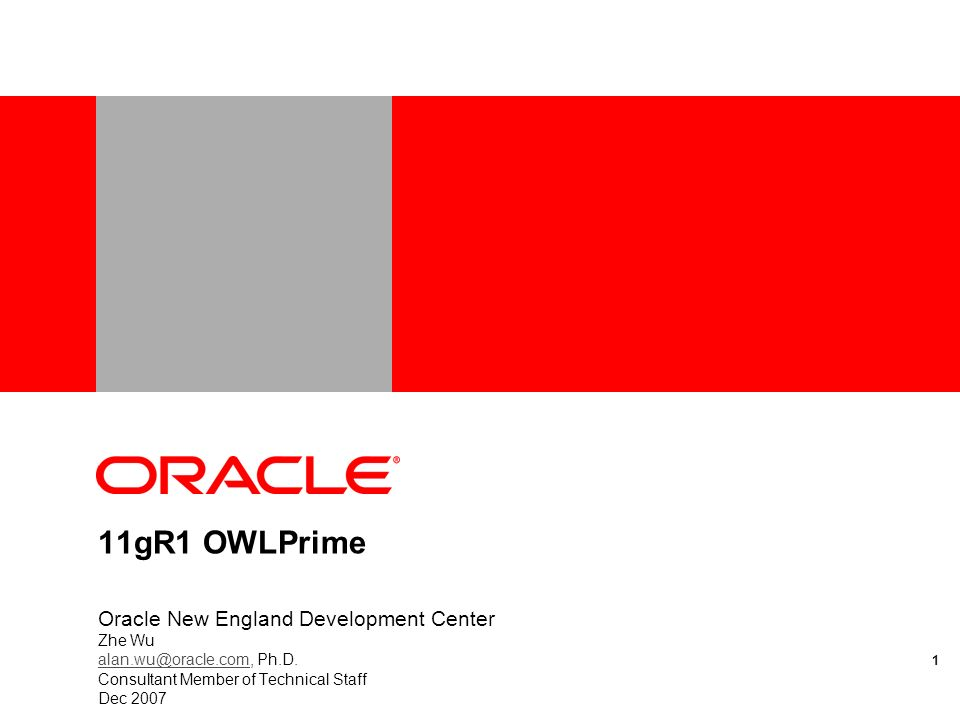 11gR1 OWLPrime Oracle New England Development Center Zhe Wu alan.wu@oracle.comalan.wu@oracle.com, Ph.D.