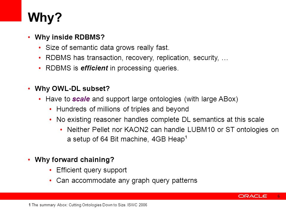 Why. Why inside RDBMS. Size of semantic data grows really fast.