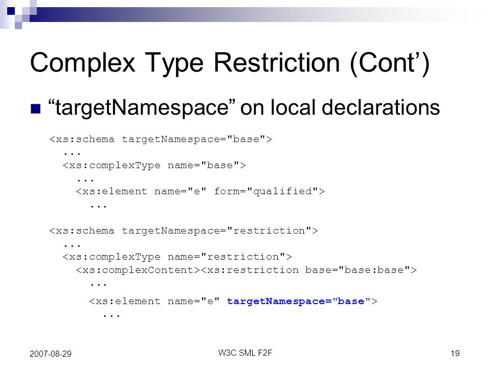 19 W3C SML F2F 2007-08-29 Complex Type Restriction (Cont)............... targetNamespace on local declarations...