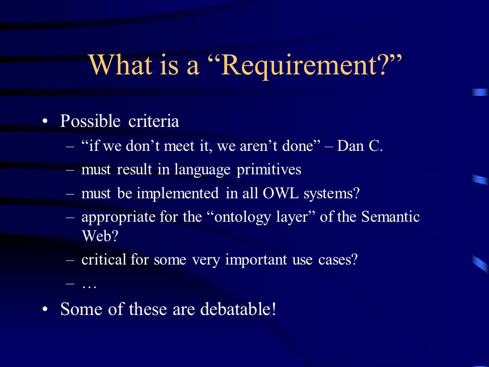 What is a Requirement? Possible criteria –if we dont meet it, we arent done – Dan C. –must result in language primitives –must be implemented in all O