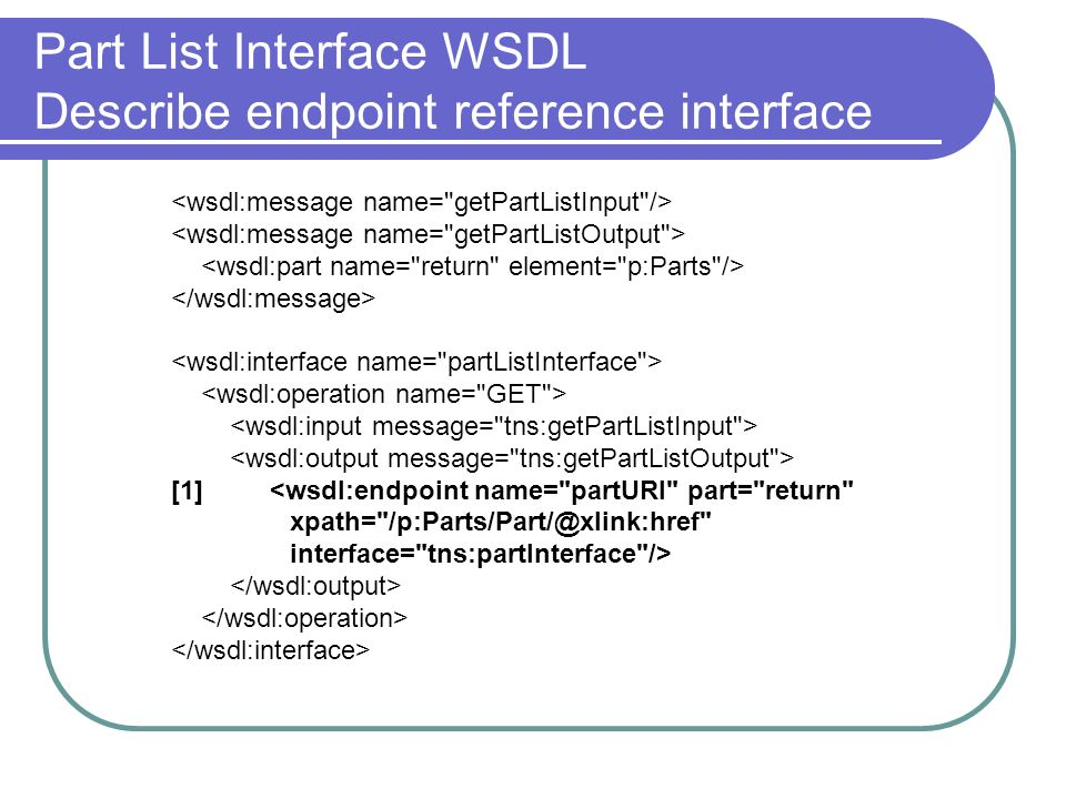 Part List Interface WSDL Describe endpoint reference interface [1] <wsdl:endpoint name= partURI part= return xpath= interface= tns:partInterface />