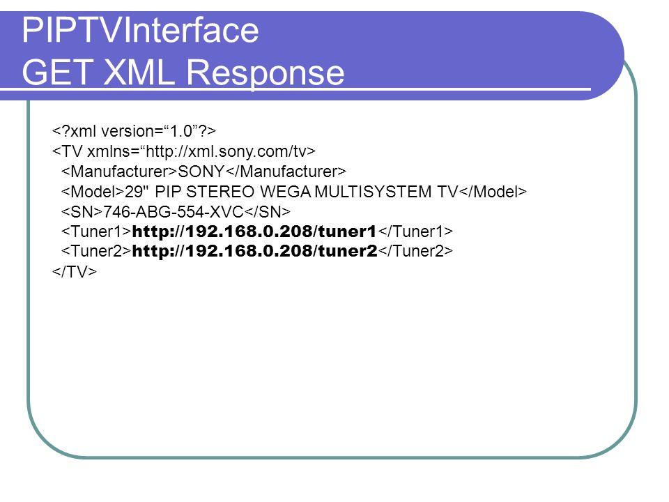 PIPTVInterface GET XML Response SONY 29
