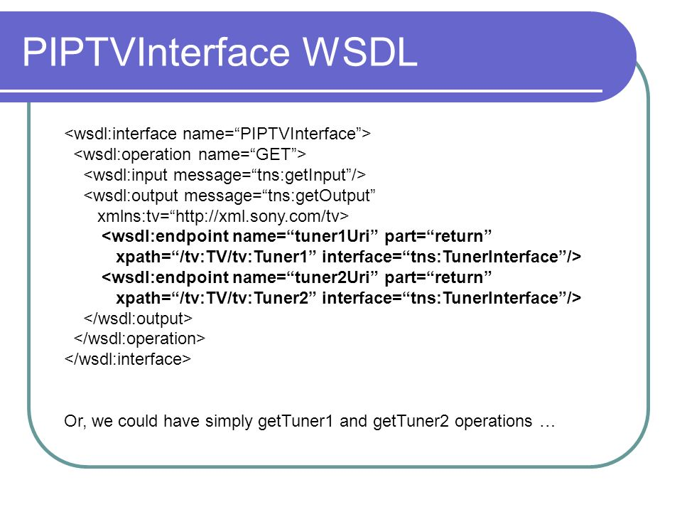 PIPTVInterface WSDL Or, we could have simply getTuner1 and getTuner2 operations …