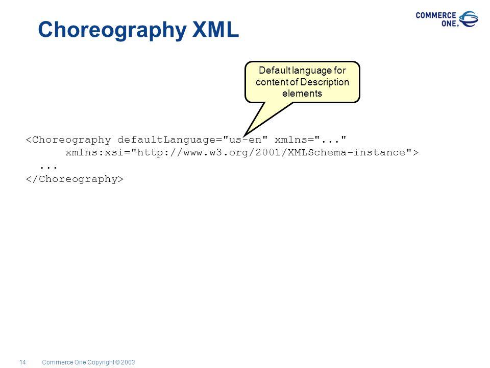 Commerce One Copyright © 200314 Choreography XML...