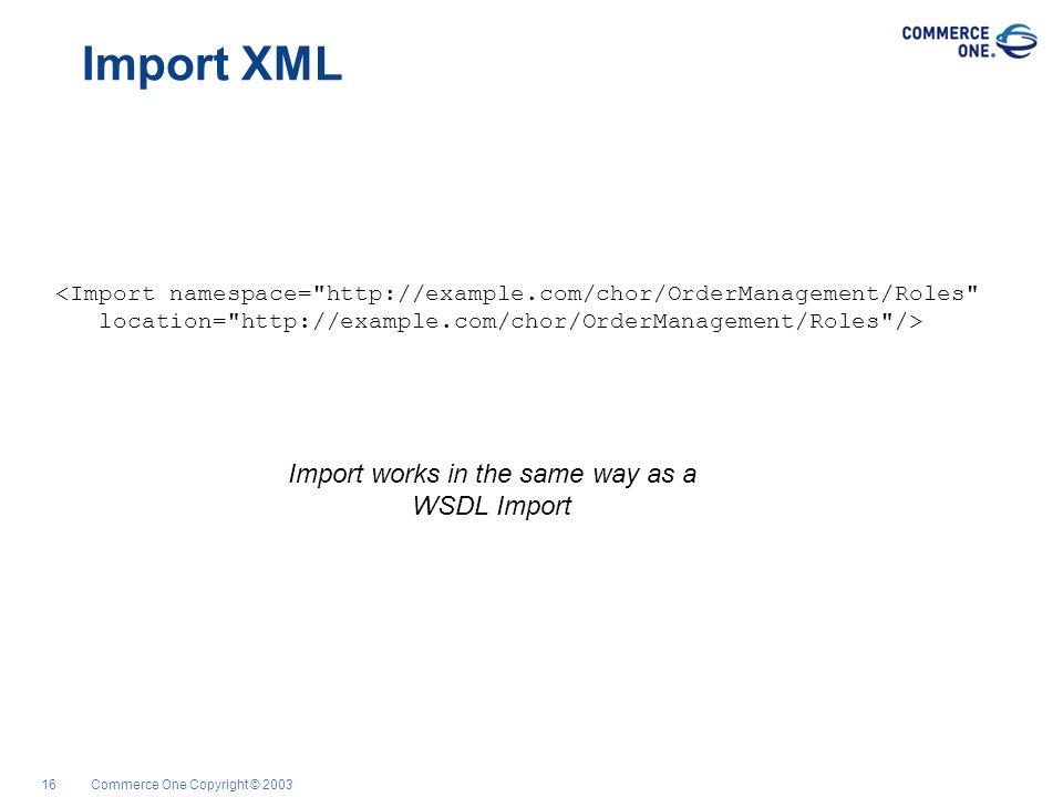 Commerce One Copyright © 200316 Import XML <Import namespace=