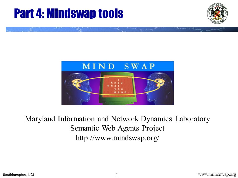 1 Southhampton, 1/03 1 www.mindswap.org Part 4: Mindswap tools Maryland Information and Network Dynamics Laboratory Semantic Web Agents Project http://www.mindswap.org/