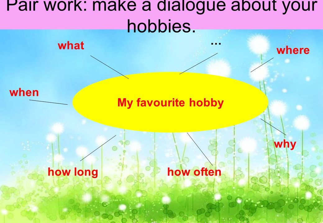 My favourite hobby what … where when how longhow often why Pair work: make a dialogue about your hobbies.