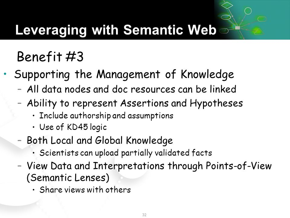 31 Leveraging with Semantic Web All things on the Web can have semantics added to them –Ability to define and link in ontologies –Documents Management through Links –Changed data and semantics can be managed as versions –Semantics can be used to define and apply policies –No Need for complex Middleware Benefit #2