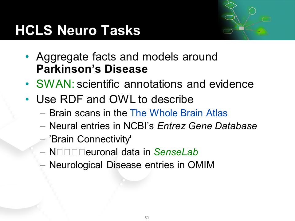 52 NeuroCommons First Steps The first stage is underway: Using NLP and other automated technologies, extract machine-readable representations of neuroscience-related knowledge as contained in free text and databases Assemble those representations into a graph Publish the graph with no intellectual property rights or contractual restrictions on reuse