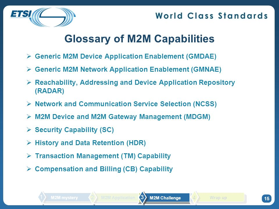Glossary of M2M Capabilities Generic M2M Device Application Enablement (GMDAE) Generic M2M Network Application Enablement (GMNAE) Reachability, Addressing and Device Application Repository (RADAR) Network and Communication Service Selection (NCSS) M2M Device and M2M Gateway Management (MDGM) Security Capability (SC) History and Data Retention (HDR) Transaction Management (TM) Capability Compensation and Billing (CB) Capability 15 M2M mystery 1 2 M2M Challenge 3 M2M Application Wrap up 4