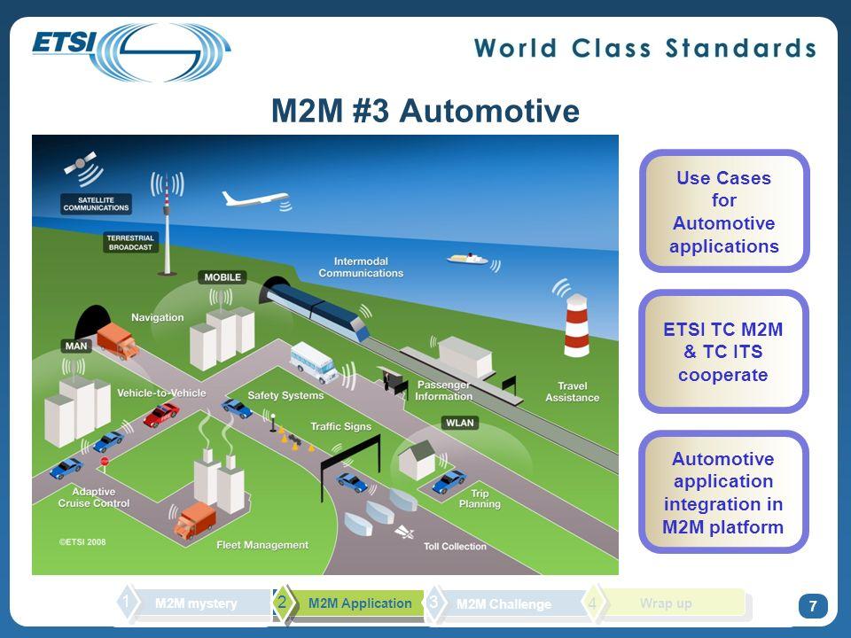 M2M #3 Automotive 7 Use Cases for Automotive applications ETSI TC M2M & TC ITS cooperate Automotive application integration in M2M platform M2M myster