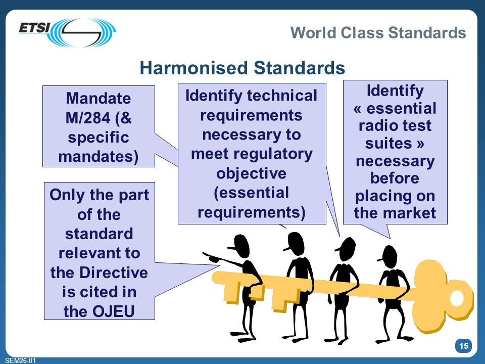 World Class Standards SEM Harmonised Standards Mandate M/284 (& specific mandates) Identify technical requirements necessary to meet regulatory objective (essential requirements) Identify « essential radio test suites » necessary before placing on the market Only the part of the standard relevant to the Directive is cited in the OJEU