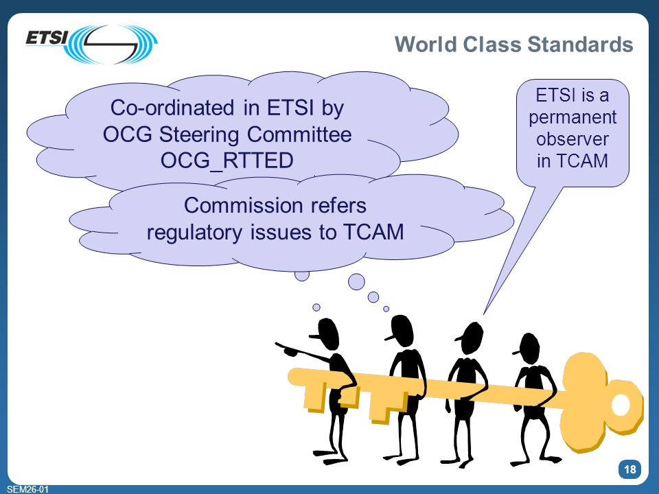 World Class Standards SEM Co-ordinated in ETSI by OCG Steering Committee OCG_RTTED Commission refers regulatory issues to TCAM ETSI is a permanent observer in TCAM