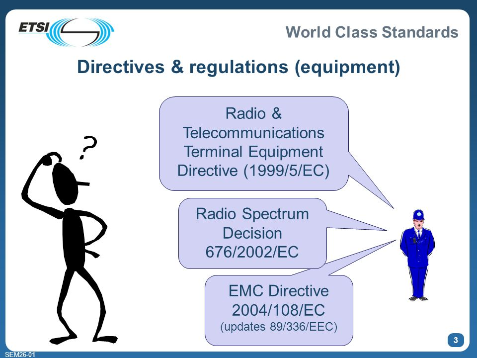 World Class Standards SEM Directives & regulations (equipment) Radio & Telecommunications Terminal Equipment Directive (1999/5/EC) EMC Directive 2004/108/EC (updates 89/336/EEC) Radio Spectrum Decision 676/2002/EC