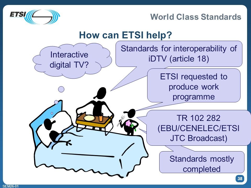 World Class Standards SEM Standards mostly completed How can ETSI help.