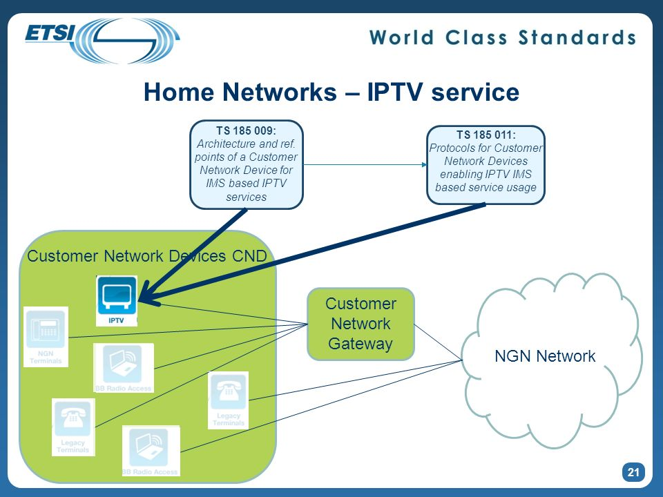 Home Networks – IPTV service 21 NGN Network Customer Network Gateway Customer Network Devices CND TS 185 009: Architecture and ref.
