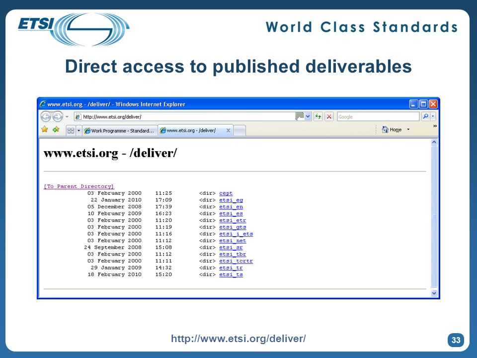 Direct access to published deliverables 33 http://www.etsi.org/deliver/