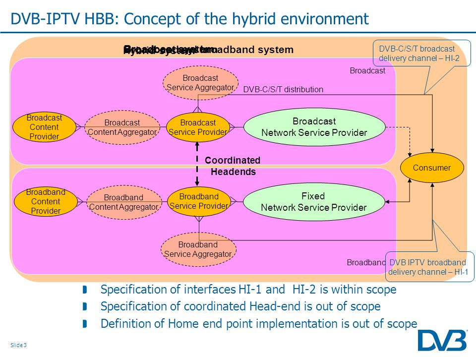 Slide 3 Specification of interfaces HI-1 and HI-2 is within scope Specification of coordinated Head-end is out of scope Definition of Home end point i