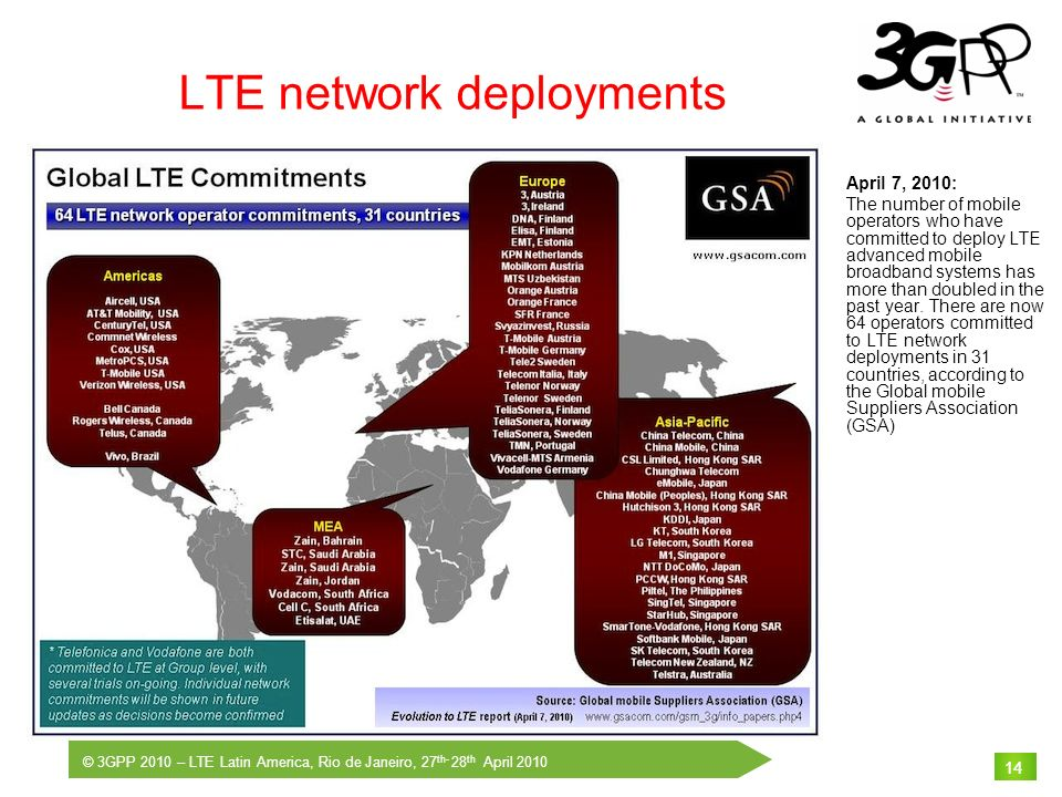 © 3GPP 2010 – LTE Latin America, Rio de Janeiro, 27 th- 28 th April 2010 14 LTE network deployments April 7, 2010: The number of mobile operators who