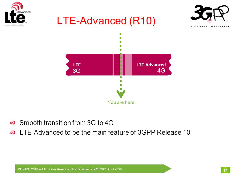 © 3GPP 2010 – LTE Latin America, Rio de Janeiro, 27 th- 28 th April 2010 17 LTE-Advanced (R10) Smooth transition from 3G to 4G LTE-Advanced to be the