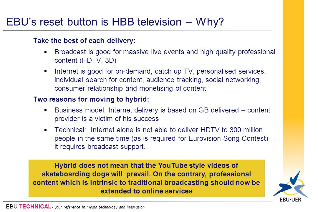 EBU TECHNICAL - your reference in media technology and innovation EBUs reset button is HBB television – Why.