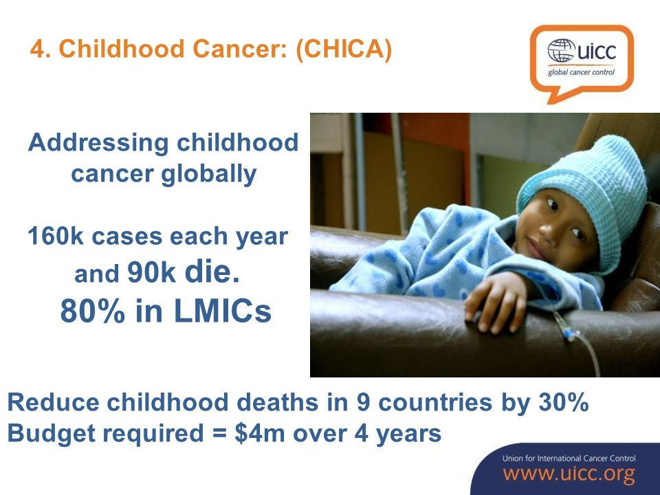 Addressing childhood cancer globally 160k cases each year and 90k die.