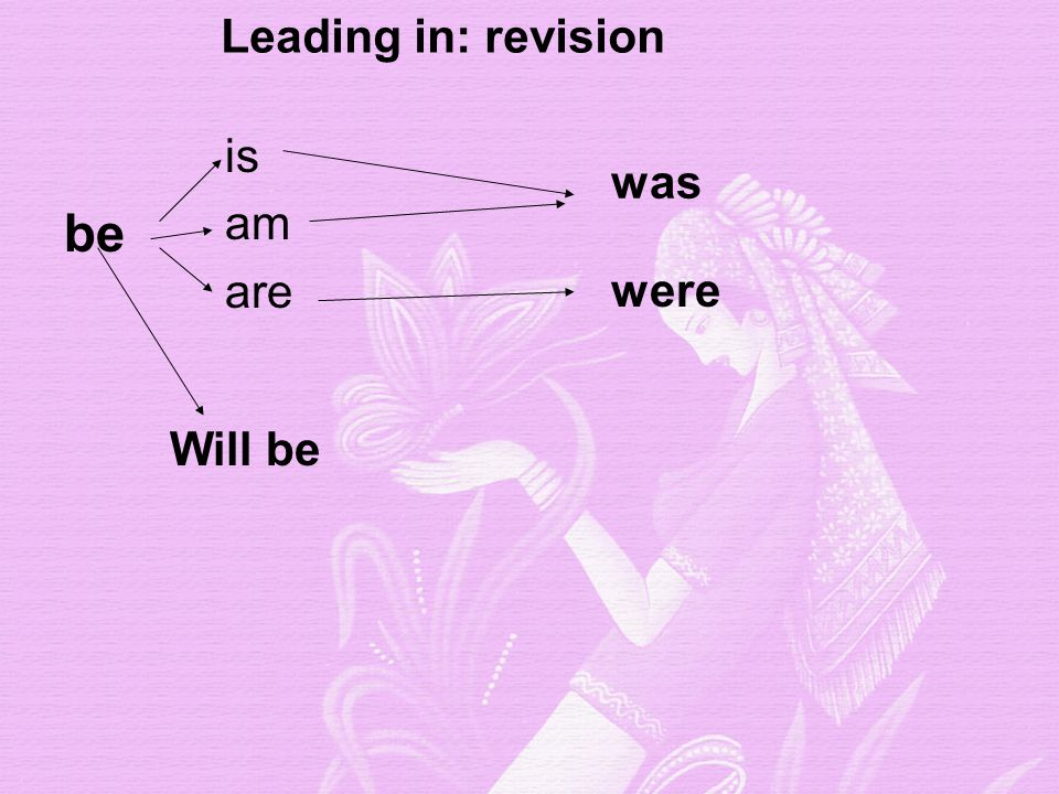 is am are was were be Leading in: revision Will be