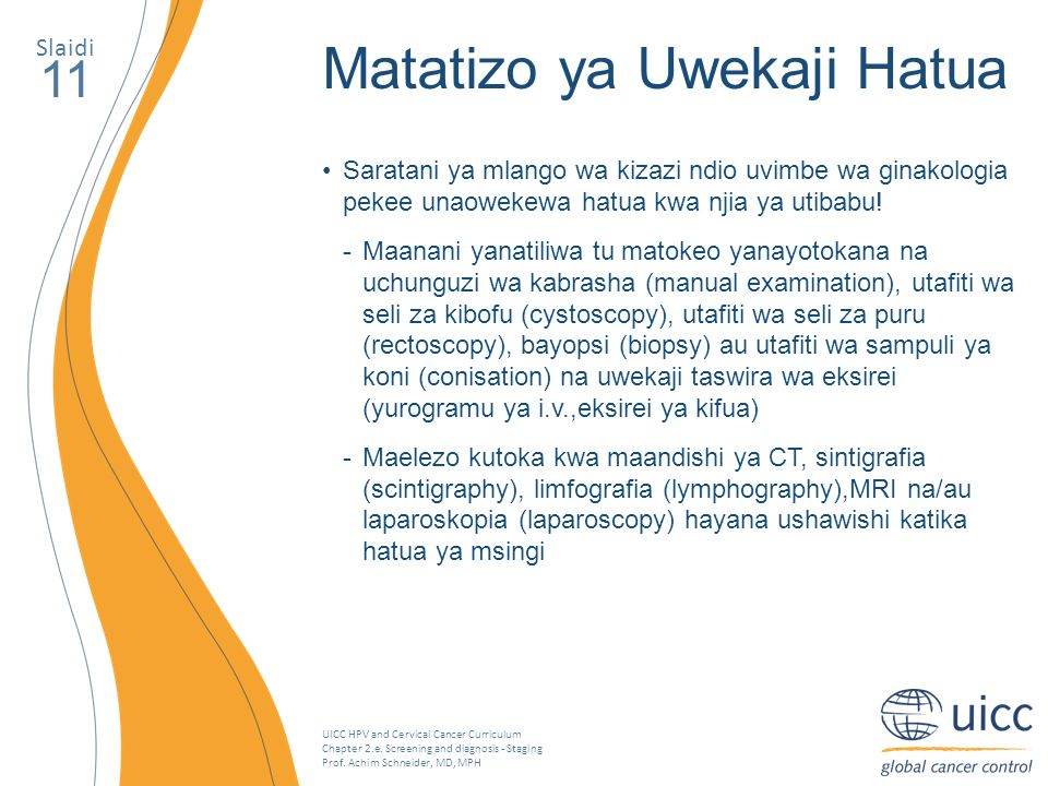 UICC HPV and Cervical Cancer Curriculum Chapter 2.e. Screening and diagnosis - Staging Prof. Achim Schneider, MD, MPH Slaidi 11 Matatizo ya Uwekaji Ha